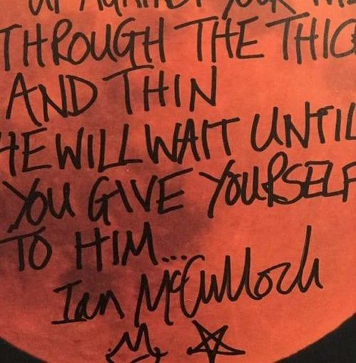 Ian McCulloch handwritten lyrics The Killing Moon Closeup